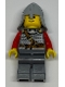Minifig No: cas478  Name: Kingdoms - Lion Knight Scale Mail with Chest Strap and Belt, Helmet with Neck Protector, Brown Eyebrows, Thin Grin (9349)