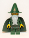 Minifig No: cas509  Name: Kingdoms - Dark Green Wizard, Light Bluish Gray Beard, Cape (Chess King)