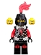 Minifig No: cas524  Name: Castle - Dragon Knight Armor with Dragon Head, Helmet Closed, Red Plume, Black Bushy Eyebrows