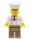 Minifig No: chef022  Name: Chef - White Torso with 8 Buttons, Dark Tan Legs, Bushy Eyebrows