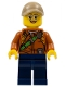 Minifig No: col308  Name: City Jungle Explorer Female - Dark Orange Shirt with Green Strap, Dark Blue Legs, Silver Glasses, Dark Tan Cap with Hole