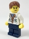 Minifig No: col309  Name: City Jungle Scientist - White Lab Coat with Test Tubes, Dark Blue Legs, Reddish Brown Parted Hair, Scowl