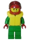 Minifig No: cty0001  Name: Octan - Green Jacket with Pockets, Smirk and Stubble Beard, Life Jacket
