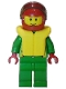 Minifig No: cty0002  Name: Octan - Green Jacket with Pockets, Brown Eyebrows, Thin Grin