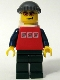 Minifig No: cty0066  Name: Red Shirt with 3 Silver Logos, Dark Blue Arms, Orange Glasses, Backpack