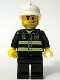 Minifig No: cty0093  Name: Fire - Reflective Stripes, Black Legs, White Fire Helmet, Smirk and Stubble Beard