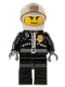 Minifig No: cty0131  Name: Police - City Leather Jacket with Gold Badge, White Helmet, Trans-Black Visor, Wide Smile