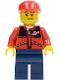 Minifig No: cty0142  Name: Red Jacket with Zipper Pockets and Classic Space Logo, Dark Blue Legs, Red Cap