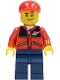 Minifig No: cty0142a  Name: Red Jacket with Zipper Pockets and Classic Space Logo, Dark Blue Legs, Red Short Bill Cap