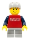 Minifig No: cty0147  Name: Skateboarder, Red Shirt with Silver Logos, Dark Blue Arms, Light Bluish Gray Short Legs, Male Messy Red Hair