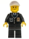Minifig No: cty0199  Name: Police - City Suit with Blue Tie and Badge, Black Legs, White Short Bill Cap, Crooked Smile