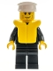 Minifig No: cty0205  Name: Police - City Suit with Blue Tie and Badge, Black Legs, Vertical Cheek Lines, White Hat, Life Jacket