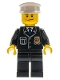 Minifig No: cty0218  Name: Police - City Suit with Blue Tie and Badge, Black Legs, Black Eyebrows, White Hat