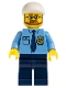 Minifig No: cty0219  Name: Police - City Shirt with Dark Blue Tie and Gold Badge, Dark Blue Legs, White Short Bill Cap