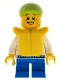 Minifig No: cty0229  Name: White Hoodie with Blue Pockets, Blue Short Legs, Lime Short Bill Cap, Life Jacket