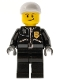 Minifig No: cty0231  Name: Police - City Leather Jacket with Gold Badge and 'POLICE' on Back, White Short Bill Cap, Lopsided Smile