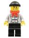 Minifig No: cty0254  Name: Police - Jail Prisoner Jacket over Prison Stripes, Black Legs, Black Knit Cap, Gold Tooth, Bandana