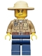 Minifig No: cty0273  Name: Forest Police - Dark Tan Shirt with Pockets, Radio and Gold Badge, Dark Blue Legs, Campaign Hat, Angry Eyebrows and Scowl, White Pupils