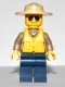 Minifig No: cty0306  Name: Forest Police - Dark Tan Shirt with Pockets, Dark Blue Legs, Campaign Hat, Black and Silver Sunglasses, Life Jacket Center Buckle