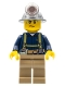 Minifig No: cty0311  Name: Miner - Shirt with Harness and Wrench, Dark Tan Legs, Mining Helmet, Sweat Drops