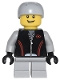 Minifig No: cty0332  Name: Leather Jacket with Zipper, Red Lines and Logo Pattern, Light Bluish Gray Short Legs, Light Bluish Gray Sports Helmet