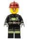 Minifig No: cty0347  Name: Fire - Reflective Stripes with Utility Belt, Dark Red Fire Helmet, Black Eyebrows