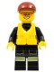 Minifig No: cty0371  Name: Fire - Reflective Stripe Vest with Pockets and Shoulder Strap, Dark Red Short Bill Cap, Life Jacket Center Buckle