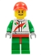 Minifig No: cty0390  Name: Race Car Mechanic, White Race Suit with Octan Logo, Red Cap with Hole, Brown Eyebrows, Thin Grin with Teeth