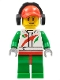 Minifig No: cty0391  Name: Race Car Mechanic, White Race Suit with Octan Logo, Red Cap with Hole, Headphones, Smirk and Stubble Beard