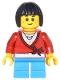 Minifig No: cty0437  Name: Sweater Cropped with Bow, Heart Necklace, Dark Azure Short Legs, Black Bob Cut Hair