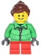 Minifig No: cty0439  Name: Winter Jacket Zipper, Red Short Legs, Reddish Brown Ponytail and Swept Sideways Fringe