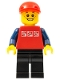 Minifig No: cty0447  Name: Red Shirt with 3 Silver Logos, Dark Blue Arms, Black Legs, Red Short Bill Cap, Freckles