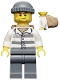 Minifig No: cty0463  Name: Police - Jail Prisoner 86753 Prison Stripes, Dark Bluish Gray Knit Cap, Backpack, Crooked Smile and Scar