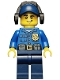 Minifig No: cty0464  Name: Police - City Officer, Gold Badge, Dark Blue Cap with Hole, Headphones, Lopsided Grin