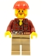 Minifig No: cty0467  Name: Flannel Shirt with Pocket and Belt, Dark Tan Legs, Red Construction Helmet, Beard