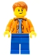 Minifig No: cty0473a  Name: Orange Jacket with Hood over Light Blue Sweater, Blue Legs, Dark Orange Short Tousled Hair, Crooked Smile with Brown Dimple