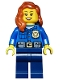 Minifig No: cty0485  Name: Police - City Officer, Gold Badge, Dark Orange Female Hair over Shoulder