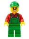 Minifig No: cty0499  Name: Overalls Farmer Green, Green Cap with Hole, Brown Moustache and Goatee