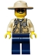 Minifig No: cty0516  Name: Swamp Police - Officer, Vest, Dark Tan Hat, Sunglasses