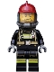Minifig No: cty0524  Name: Fire - Reflective Stripes with Utility Belt, Dark Red Fire Helmet, Breathing Neck Gear with Airtanks, Crooked Smile and Scar