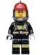 Minifig No: cty0525  Name: Fire - Reflective Stripes with Utility Belt, Dark Red Fire Helmet, Breathing Neck Gear with Airtanks, Peach Lips Smile