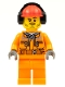Minifig No: cty0534  Name: Construction Worker - Chest Pocket Zippers, Belt over Dark Gray Hoodie, Red Construction Helmet with Headset