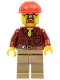 Minifig No: cty0540  Name: Flannel Shirt with Pocket and Belt, Dark Tan Legs, Red Construction Helmet, Safety Goggles