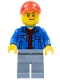 Minifig No: cty0546  Name: Blue Jacket over Dark Red V-Neck Sweater, Sand Blue Legs, Red Cap with Hole, Smirk and Stubble Beard