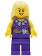Minifig No: cty0550  Name: Female Dark Purple Blouse with Gold Sash and Flowers, Dark Purple Legs, Bright Light Yellow Female Hair Mid-Length