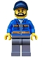 Minifig No: cty0576  Name: Blue Jacket with Pockets and Orange Stripes, Dark Bluish Gray Legs, Dark Blue Cap with Hole, Black Beard
