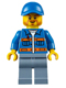 Minifig No: cty0610  Name: Blue Jacket with Pockets and Orange Stripes, Sand Blue Legs, Blue Short Bill Cap, Beard