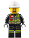Minifig No: cty0635  Name: Fire - Reflective Stripes with Utility Belt and Flashlight, White Fire Helmet, Brown Moustache and Goatee