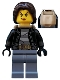 Minifig No: cty0642  Name: Police - City Bandit Crook Female, Sand Blue Legs, Dark Brown Mid-Length Tousled Hair, Backpack