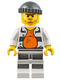 Minifig No: cty0643  Name: Police - Jail Prisoner 18675, Open Shirt, Striped Legs, Gray Knit Cap